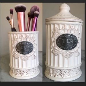 Other - Vintage Tea Jar Makeup Brush Holder/Storage